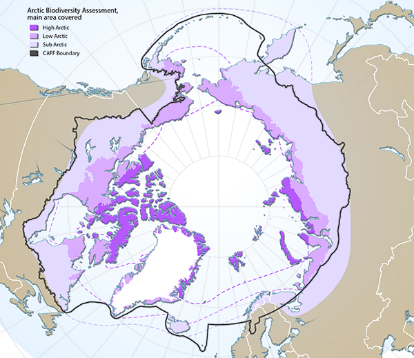 Arctic freshwater boundaries from the Arctic CouncilR17;s Arctic Biodiversity Assessment developed by CAFF, showing the three sub-regions of the Arctic, namely the high (dark purple), low (purple) and sub-Arctic (light purple), and the CAFF boundary (grey line).