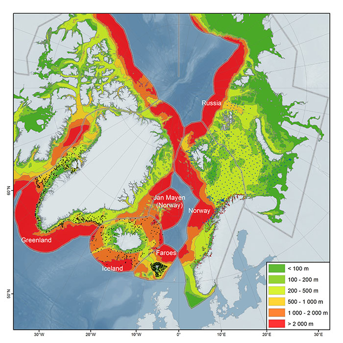 The coverage of scientific trawl stations from the Atlantic countries: Norway, Island, Faroe Island and Greenland. This station grid will cover AMA 1 and 2 and LME 1-5, 16 (see Box 1 below). Today only Norway/Russia has, since 2006, identifying the entire trawl catch including the epibenthic megafauna in the Barents Sea. Click to access high resolution file from the Arctic Biodiversity Data Service