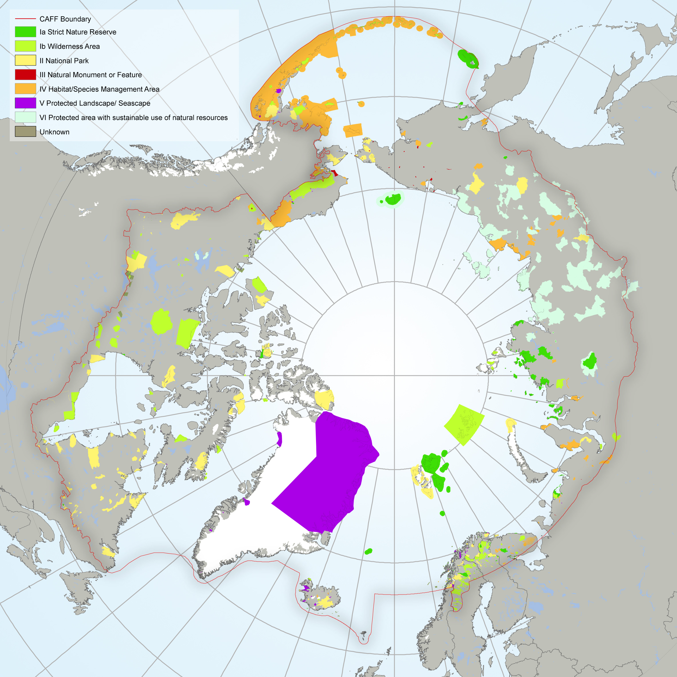 Protected areas in the Arctic as classified by IUCN Protected Areas Management categorization